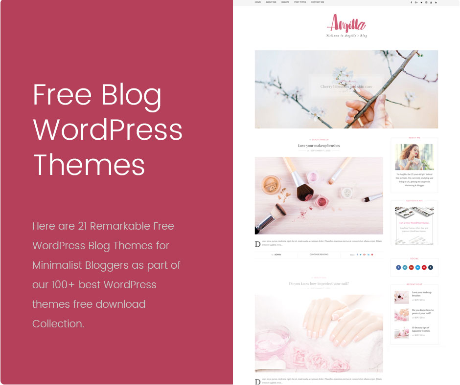 21 remarkable free wordpress blog themes for bloggers for Free blog templates wordpress