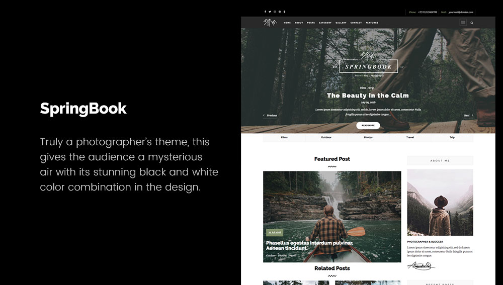 SpringBook - Best WordPress Blog Themes for Photography and Art