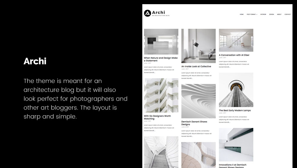 Archi - Best WordPress Blog Themes for Photography and Art